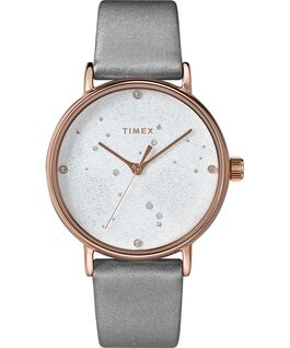 Celestial Opulence 37mm Textured Strap Watch Rose-Gold-Tone/Gray-ARIES,TAURUS,GEMINI large
