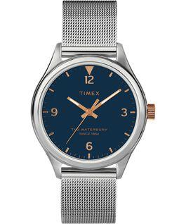 5610b4d48853ff Damski zegarek Waterbury Traditional 34 mm z siatkową bransoletą Stal  nierdzewna/Srebrny/Niebieski large ...