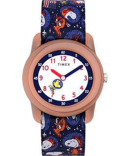 Timex x Space Snoopy Kids Analog 28mm Elastic Fabric Strap Watch Orange/Blue large