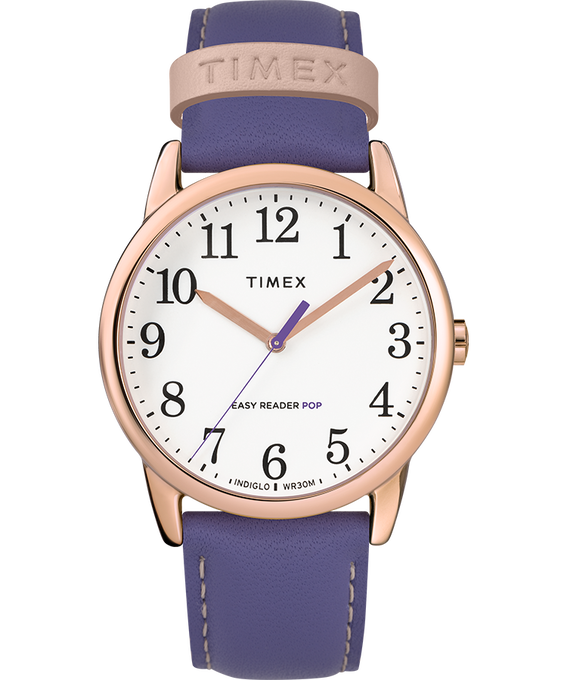Easy-Reader-38mm-Exclusive-Color-Pop-Leather-Womens-Watch W kolorze różowego złota/Fioletowy/Biały large