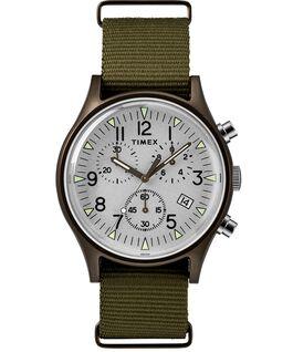 MK1 Aluminum Chronograph 40mm Nylon Strap Watch Green/Silver-Tone large
