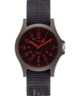 Zegarek Acadia 40 mm z paskiem materiałowym i kolorowym szkiełkiem Czarny large
