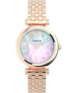 Zegarek Parisienne 28 mm ze stalową bransoletą Różowe złoto/Perłowy large