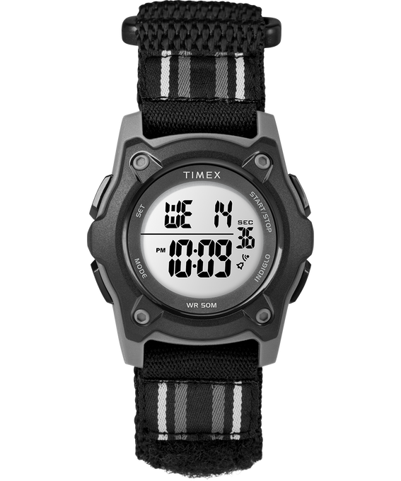 Kid's Digital 35mm Double Layer Fabric Strap Watch Gray/Black large