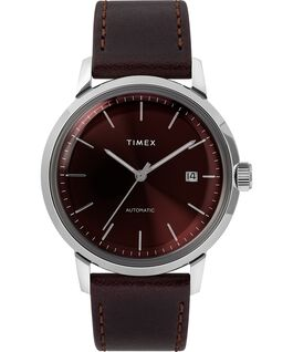 Marlin® 40mm Automatic Leather Strap Watch Burgundy/Silver-Tone large
