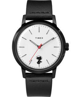 Zegarek Timex x Snoopy Space Traveler Marlin Automatic 40 mm z paskiem skórzanym Stal nierdzewna/Czarny/Biały large