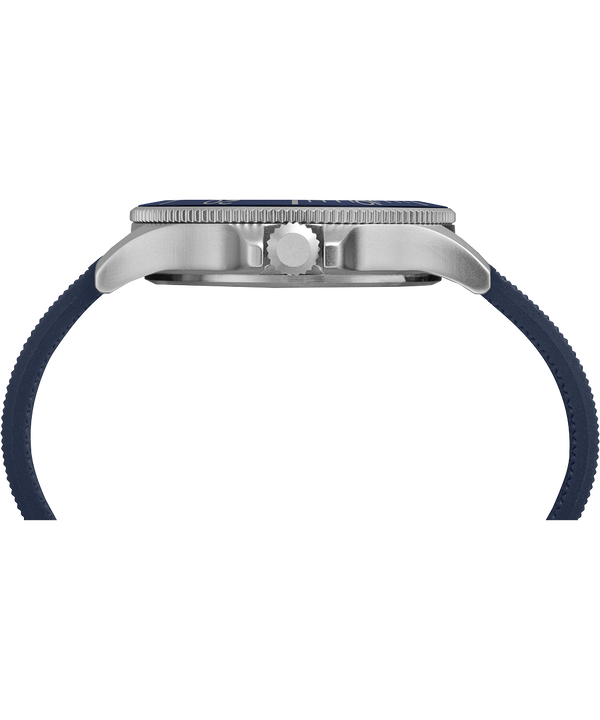Zegarek Allied Coastline z kopertą 43 mm i silikonowym paskiem Silver-Tone/Blue large