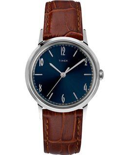 Zegarek Marlin z kopertą 34 mm i skórzanym paskiem, ręcznie nakręcany Stainless-Steel/Brown/Blue large
