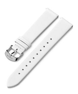Skórzany pasek 18 mm ze sprzączką w kolorze srebrnym Biały large