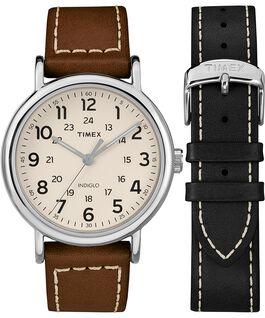 Zegarek Weekender z kopertą 40 mm i skórzanym paskiem w zestawie prezentowym Chromowany/Brązowy/Kremowy large