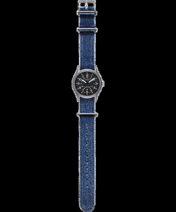 Zegarek MK1 z kopertą 40 mm i paskiem materiałowym Srebrny/Niebieski/Czarny large
