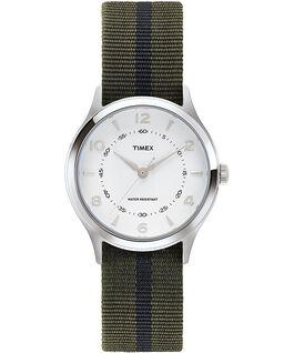 Zegarek Whitney Village z kopertą 38 mm, paskiem z grogramu i białą tarczą Stal nierdzewna/Biały large