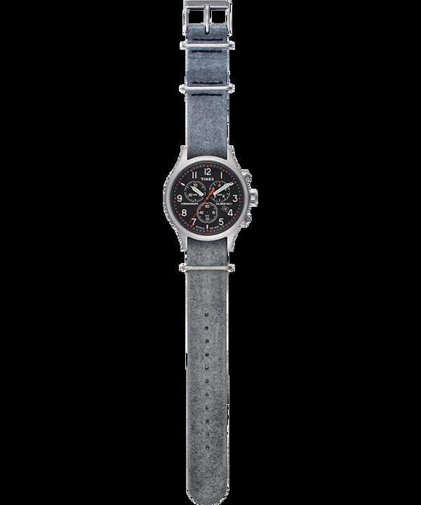 Zegarek Allied Chronograph z kopertą 42 mm i skórzanym paskiem Srebrny/Szary/Czarny large