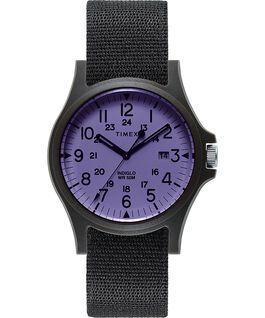 Zegarek Acadia z kopertą 40 mm i paskiem materiałowym Czarny/Różowy large