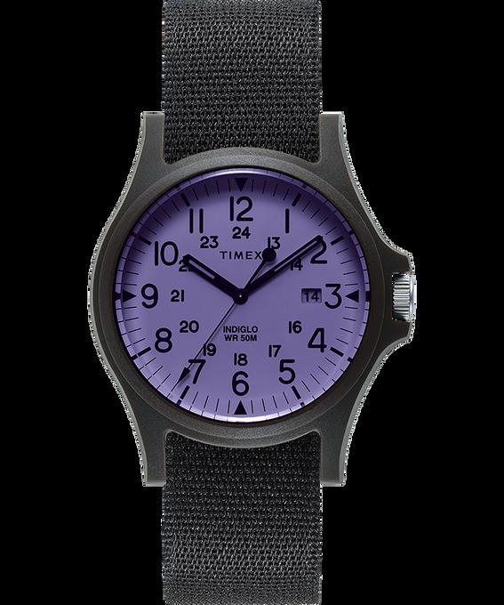Zegarek Acadia z kopertą 40 mm i paskiem materiałowym Black/Purple large