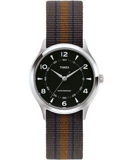 Zegarek Whitney Village z kopertą 36 mm i dwustronnym paskiem z grogramu Stal nierdzewna/Czarny large