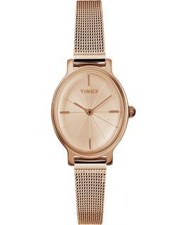 Zegarek Milano Oval z kopertą 24 mm i bransoletą siatkową ze stali nierdzewnej Różowe złoto large