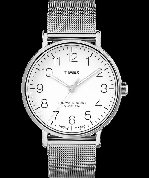Zegarek Waterbury Classic 40 mm ze stalową siatkową bransoletą Stainless-Steel/White large